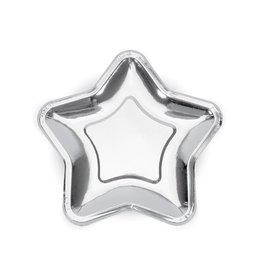 Papieren bordje ster zilver | 8st