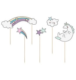 PartyDeco Cupcake prikkers pastel 'Make a Wish' | 5st