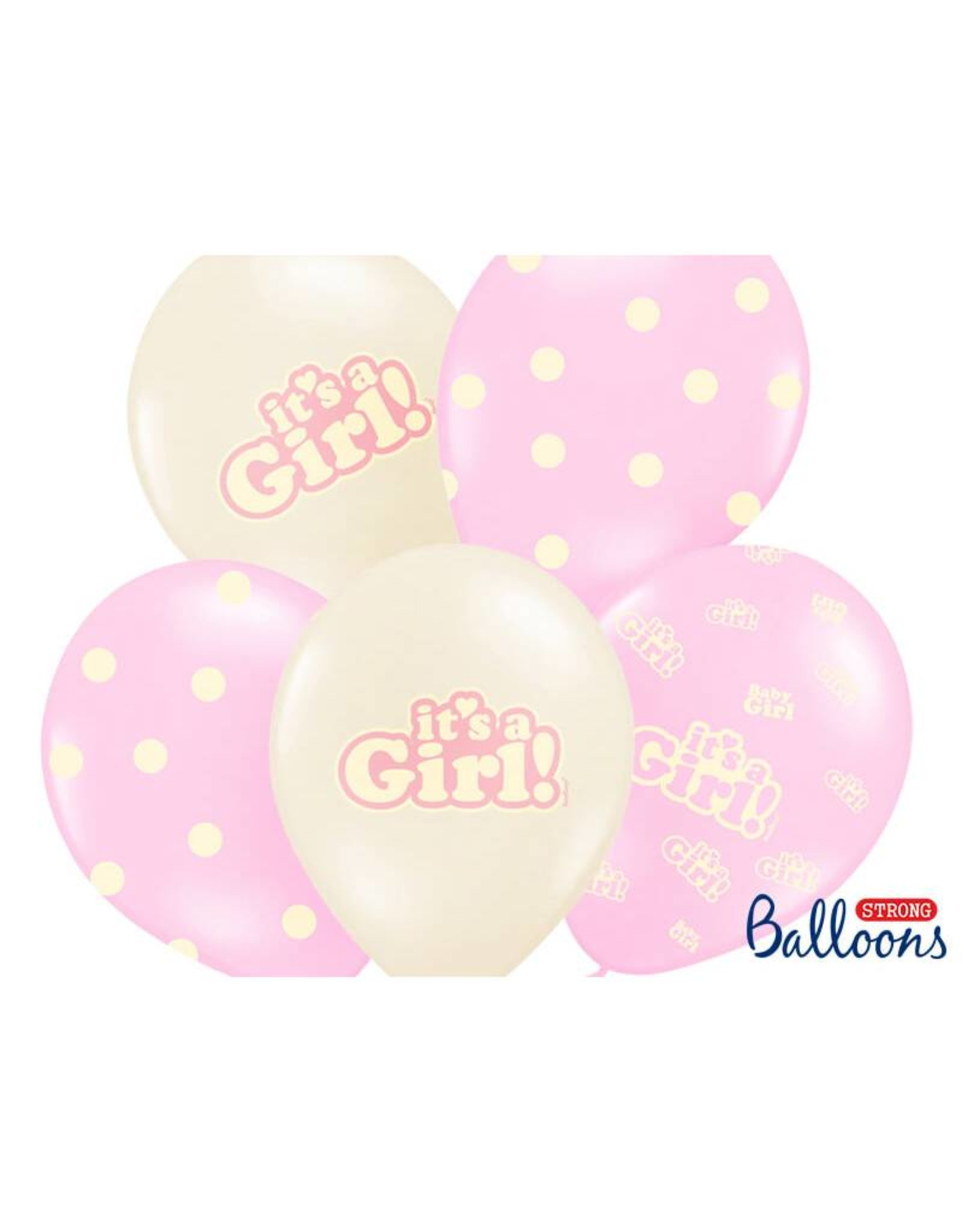 Strong Balloons Ballonnen mix roze & wit 'It's a girl!' | 6st
