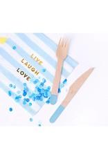 PartyDeco Bestek hout met blauwe print | 18 stuks