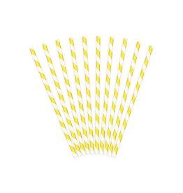 PartyDeco Papieren rietjes geel gestreept | 10st