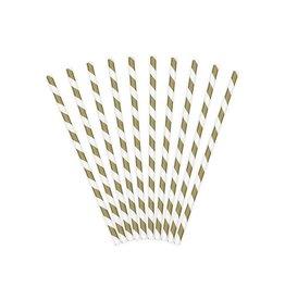 PartyDeco Papieren rietjes goud gestreept | 10st