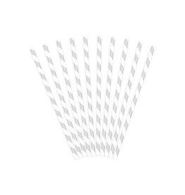 PartyDeco Papieren rietjes zilver gestreept | 10st