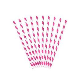 PartyDeco Papieren rietjes roze gestreept | 10st