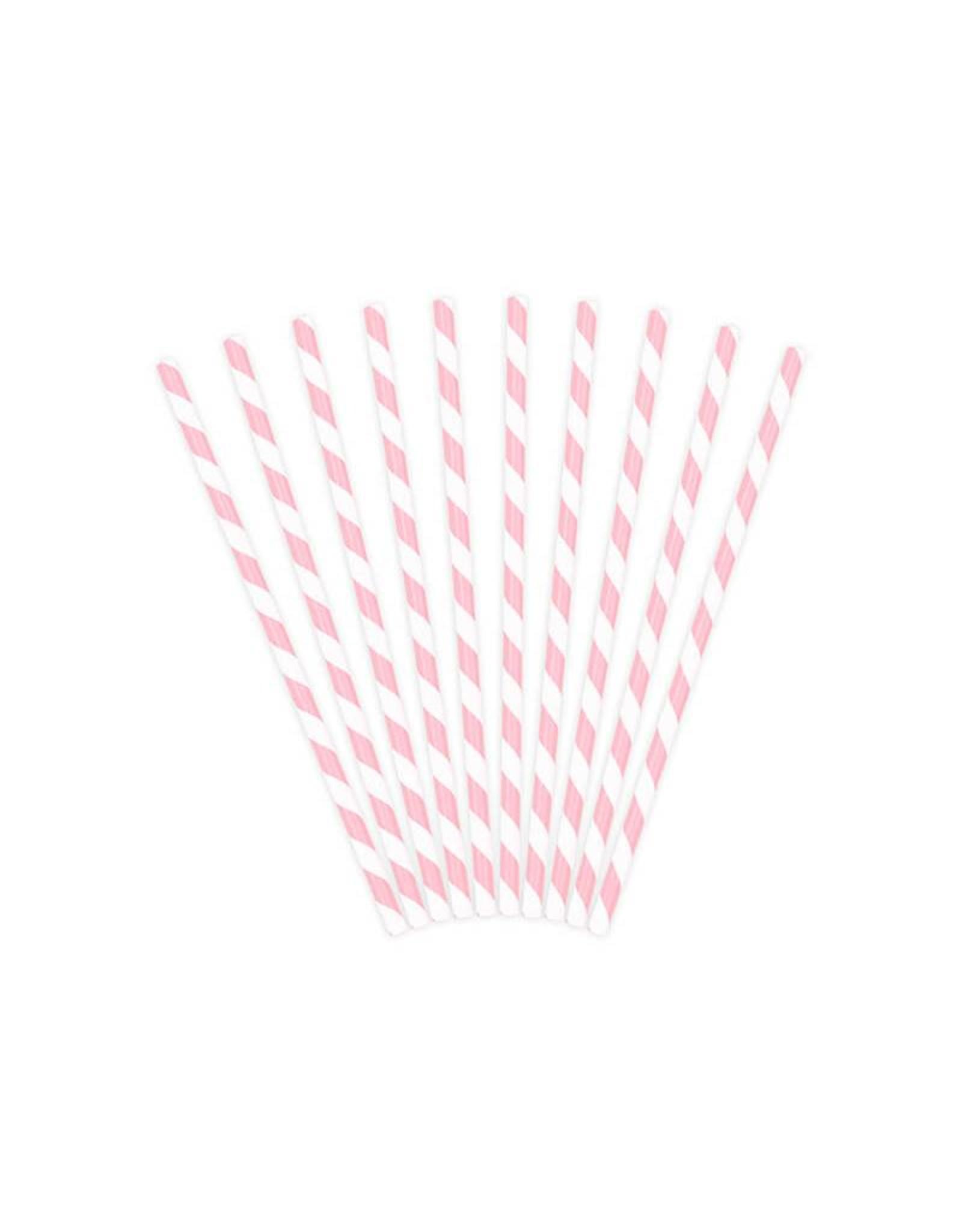 PartyDeco Papieren rietjes lichtroze gestreept | 10 stuks