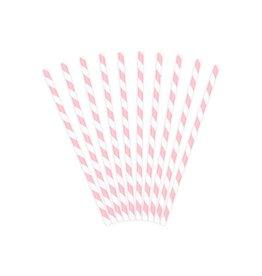 PartyDeco Papieren rietjes lichtroze gestreept | 10st