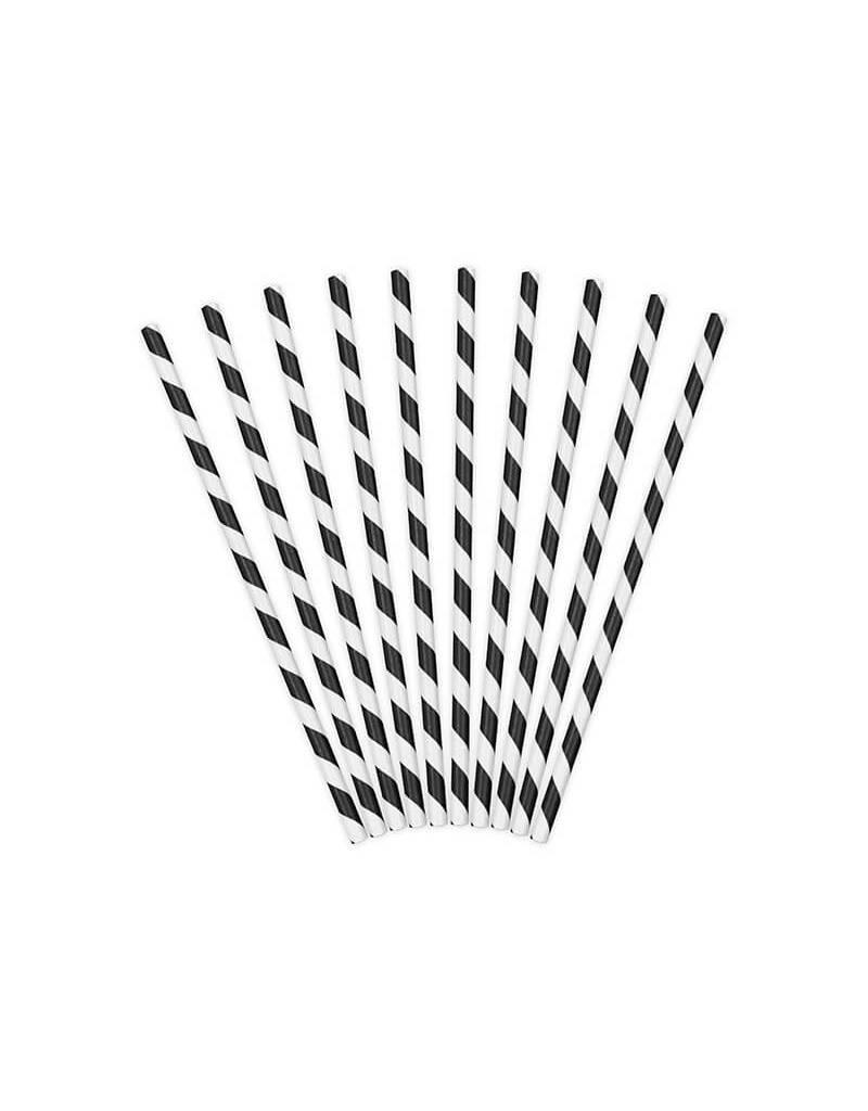 PartyDeco Papieren rietjes zwart gestreept | 10 stuks