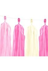 PartyDeco Tassel slinger DIY roze & crème | 1,5 meter