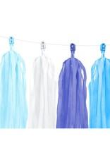 PartyDeco Tassel slinger DIY blauw & wit | 1,5 meter