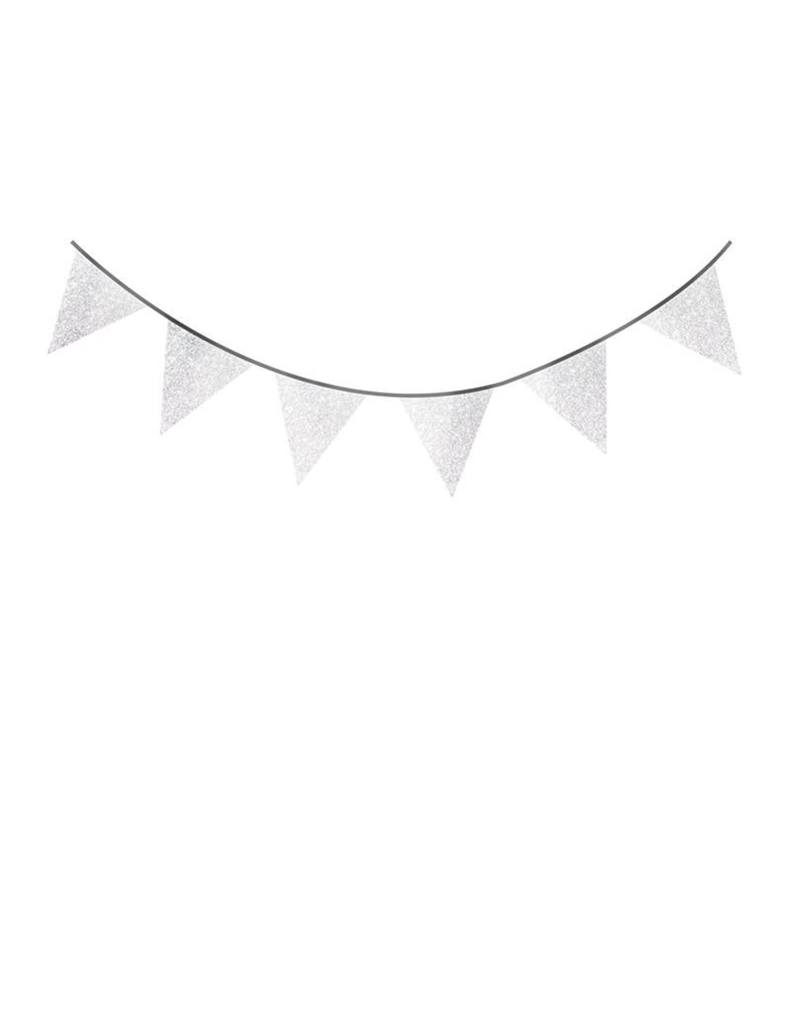 HAZA Glitterslinger zilveren vlaggetjes | 6 meter
