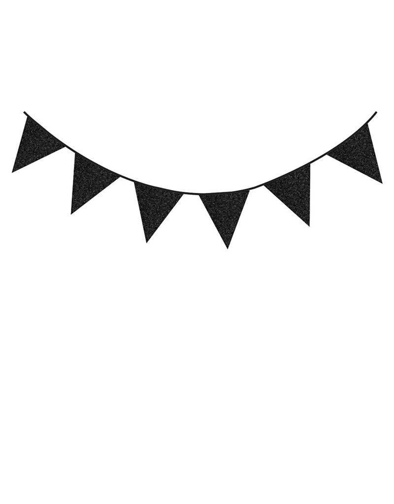 HAZA Glitterslinger zwarte vlaggetjes | 6 meter