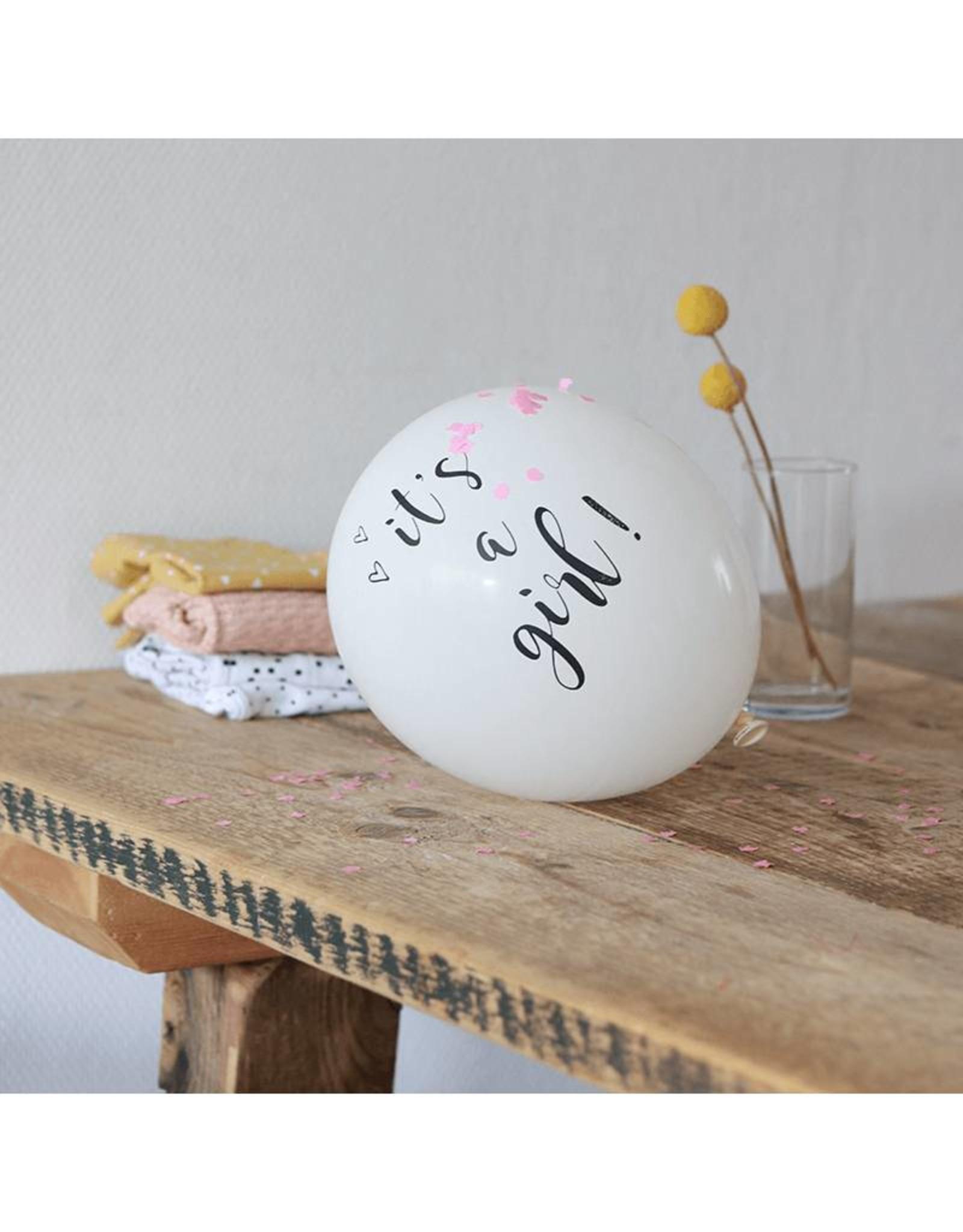 SuzyB Ballonnen wit & zwart 'It's a girl'| 6 stuks