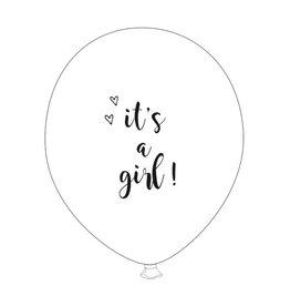 SuzyB Ballonnen wit & zwart 'It's a girl'| 6st