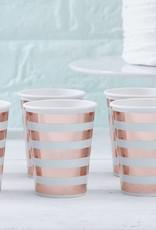 Ginger Ray Papieren bekertjes rosé goud & mint | 8 stuks