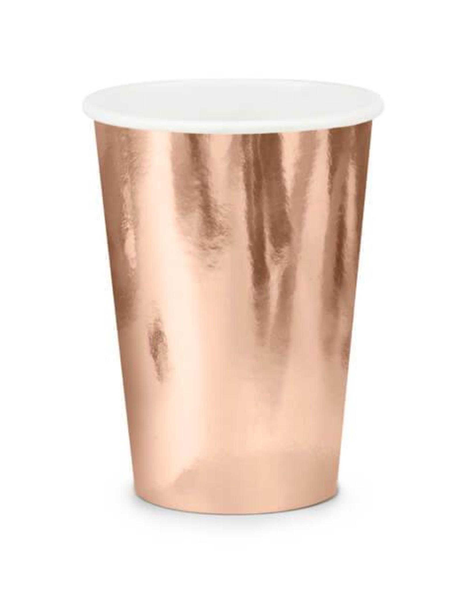 PartyDeco Papieren bekertjes rosé goud | 6 stuks