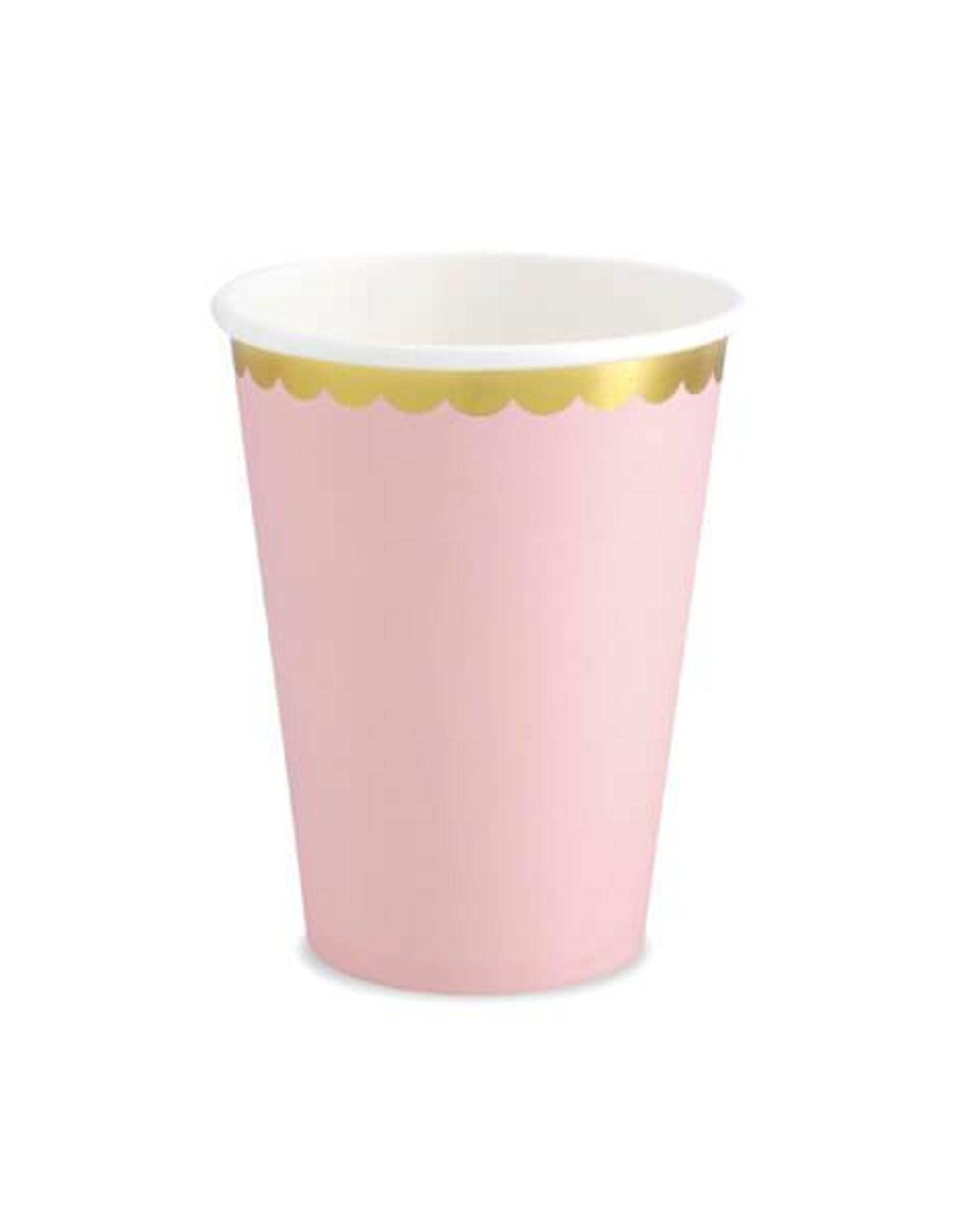 PartyDeco Papieren bekertjes roze & goud | 6 stuks