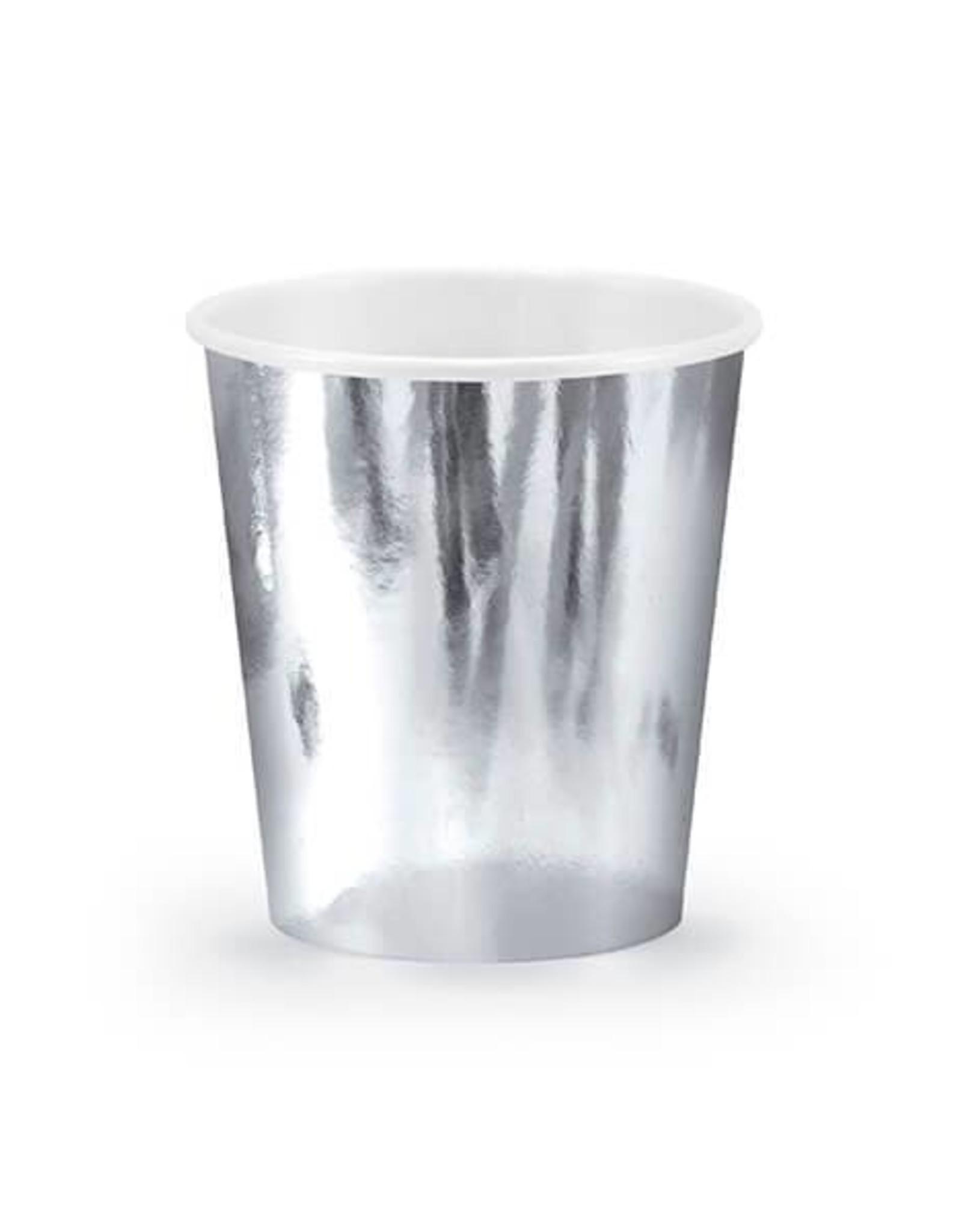 PartyDeco Papieren zilveren bekertjes | 6 stuks