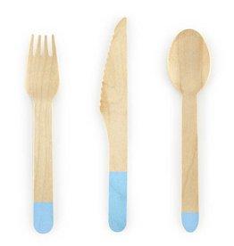 PartyDeco Bestek hout met blauwe print | 18st