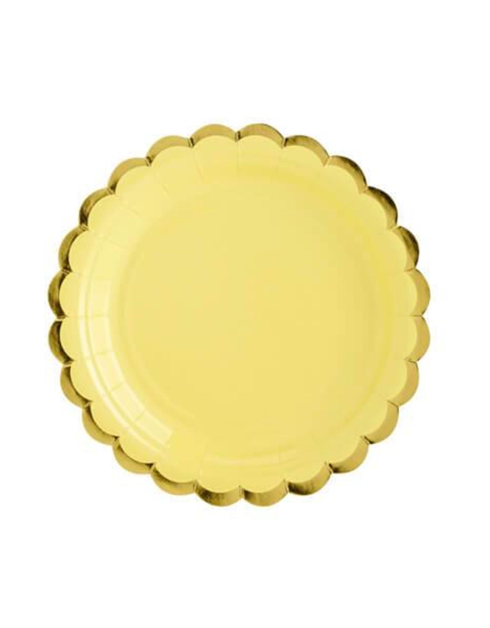 PartyDeco Papieren bordjes geel met goud - 6 stuks