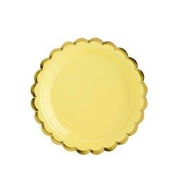 PartyDeco Papieren bordjes geel & goud | 6st