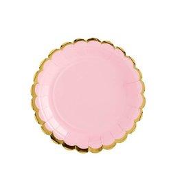 PartyDeco Papieren bordjes roze & goud | 6st