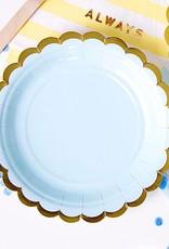 PartyDeco Papieren bordjes lichtblauw met gouden rand - 6 stuks