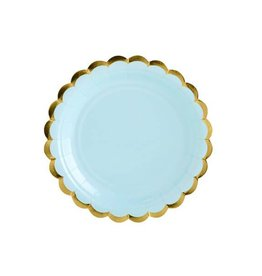 PartyDeco Papieren bordjes blauw & goud | 6st