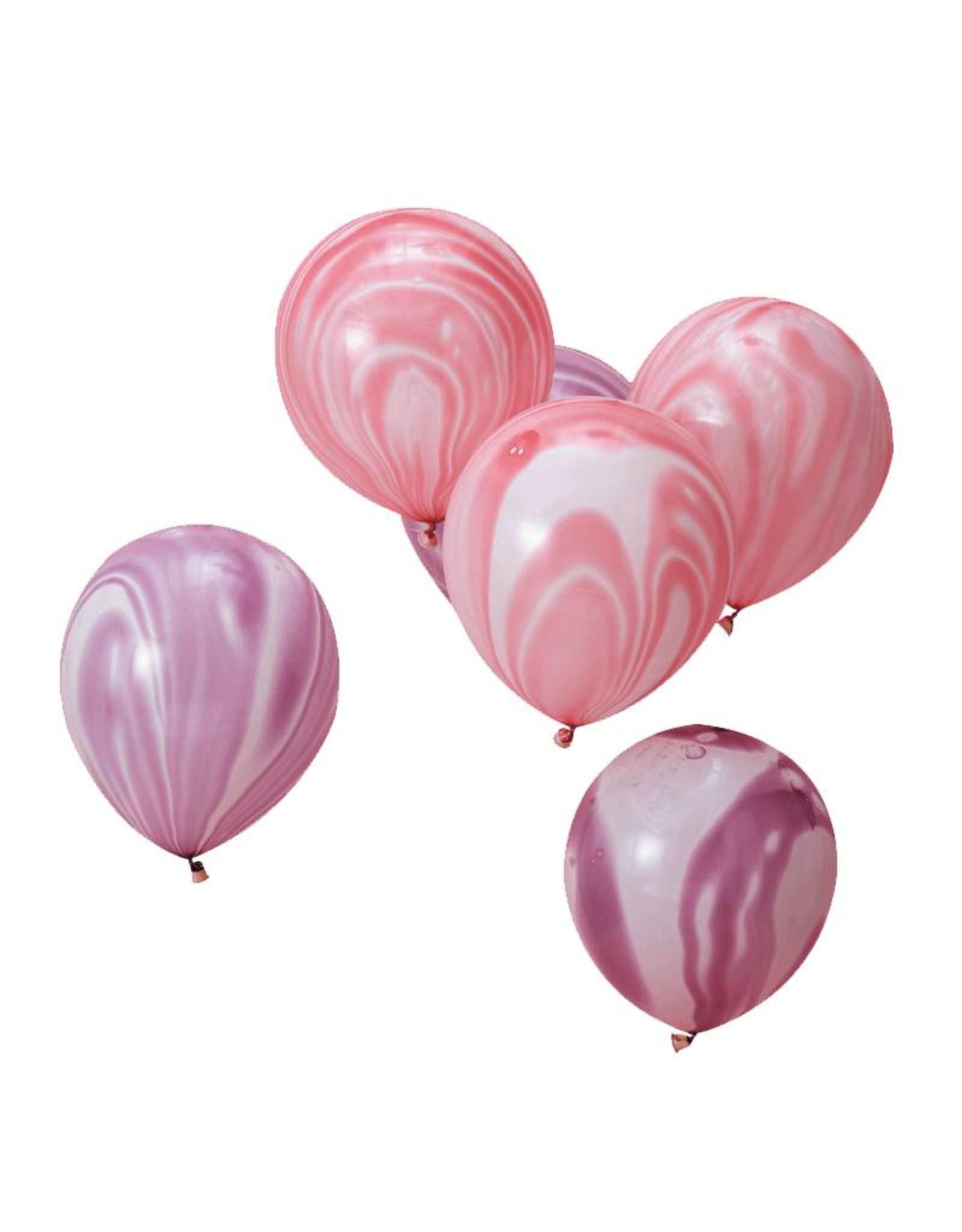 Ginger Ray Ballonnen marble paars & roze | 10 stuks