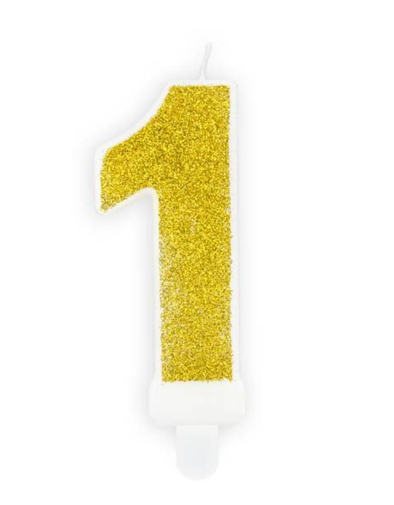 PartyDeco Verjaardagskaarsje goud & glitter | cijfer 1