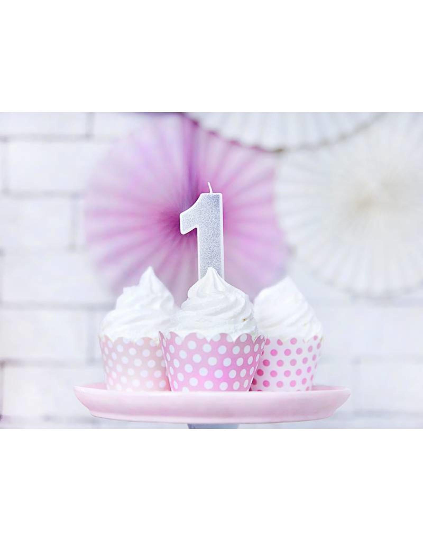 PartyDeco Verjaardagskaarsje zilver & glitter | cijfer 1