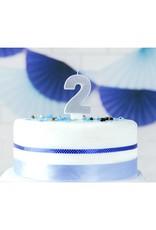 PartyDeco Verjaardagskaarsje zilver & glitter | cijfer 2