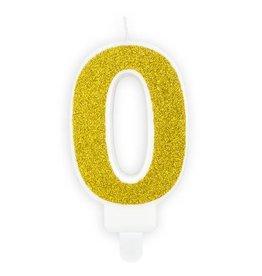 PartyDeco Verjaardagskaarsje goud & glitter | cijfer 0