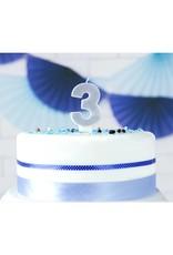 PartyDeco Verjaardagskaarsje zilver & glitter | cijfer 3