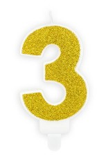 PartyDeco Verjaardagskaarsje goud & glitter | cijfer 3