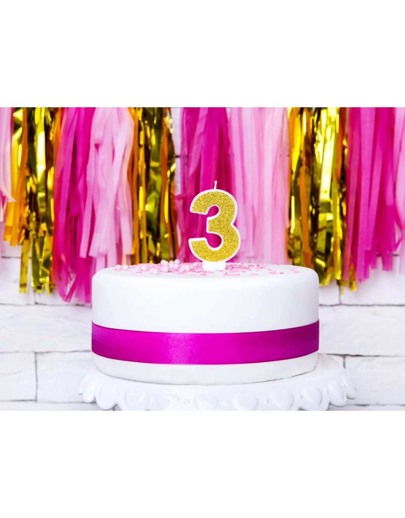 PartyDeco Verjaardagskaarsje goud & glitter   cijfer 3