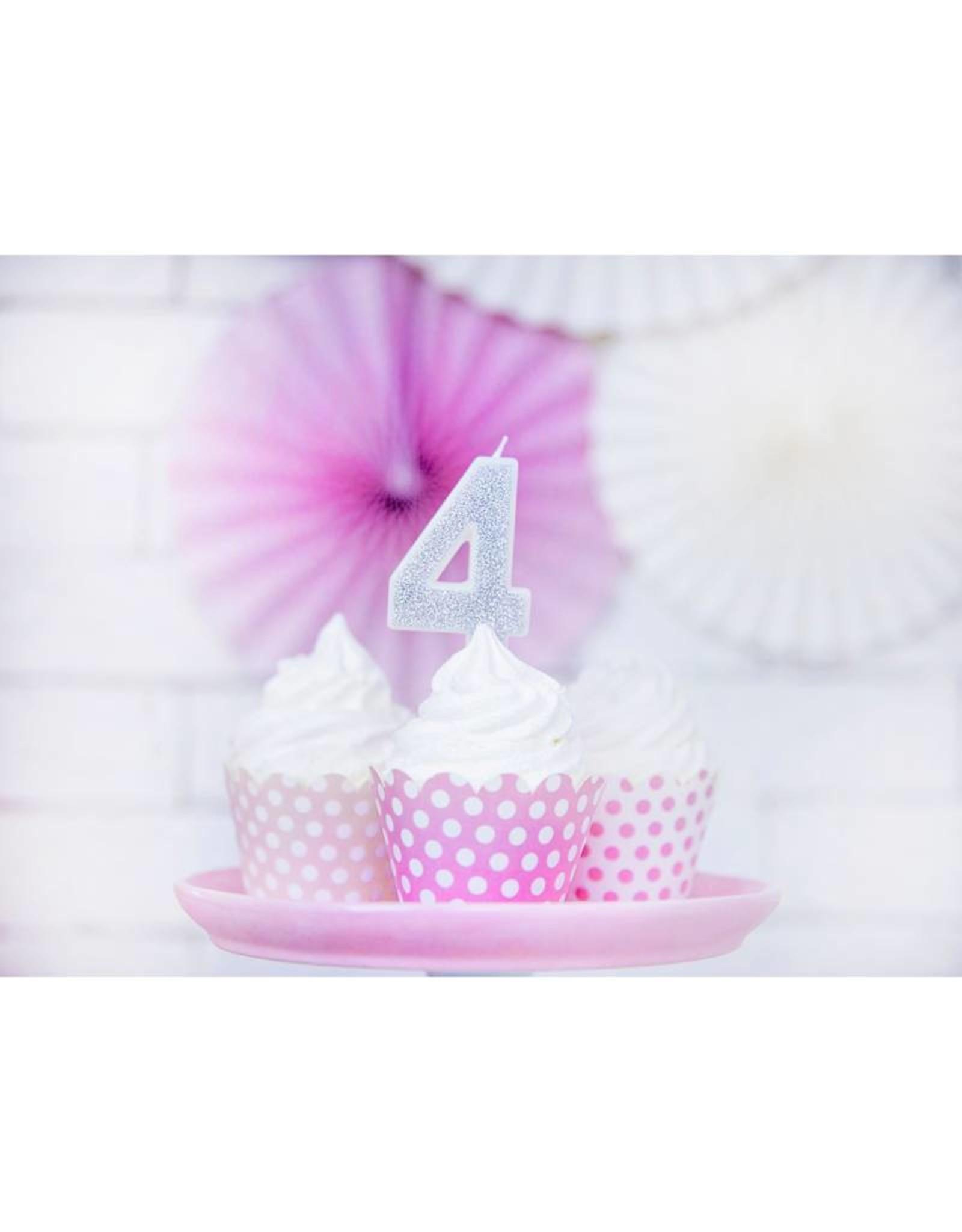 PartyDeco Verjaardagskaarsje zilver & glitter | cijfer 4