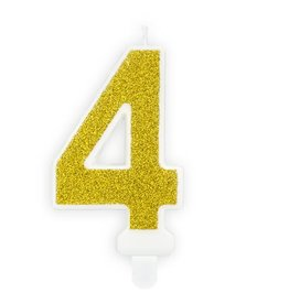 PartyDeco Verjaardagskaarsje goud & glitter | cijfer 4