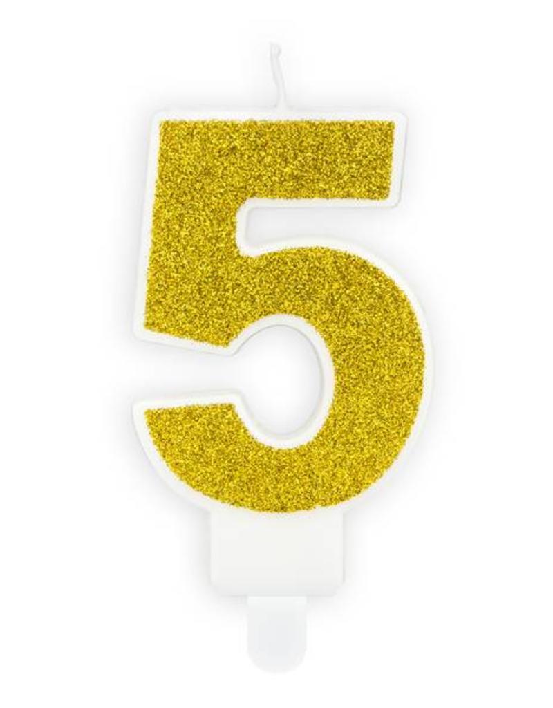 PartyDeco Verjaardagskaarsje goud & glitter | cijfer 5