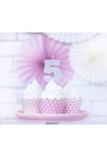 PartyDeco Verjaardagskaarsje zilver & glitter | cijfer 5