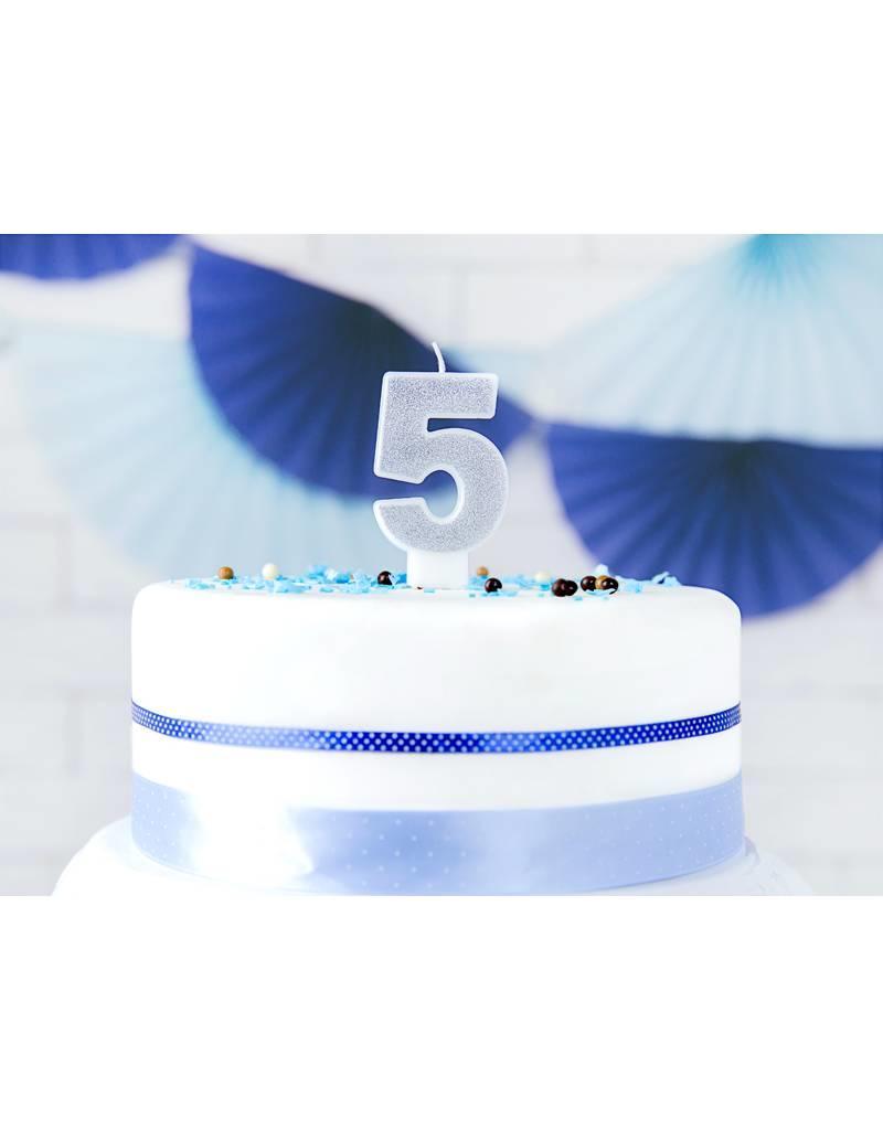 PartyDeco Verjaardagskaarsje zilver & glitter   cijfer 5