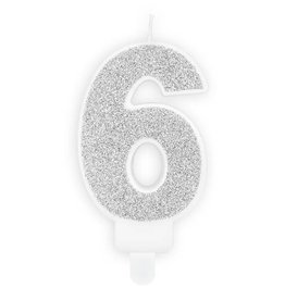 PartyDeco Verjaardagskaarsje zilver & glitter | cijfer 6