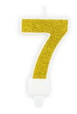 PartyDeco Verjaardagskaarsje goud & glitter | cijfer 7