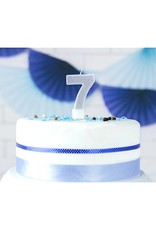 PartyDeco Verjaardagskaarsje zilver & glitter | cijfer 7