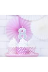 PartyDeco Verjaardagskaarsje zilver & glitter | cijfer 8