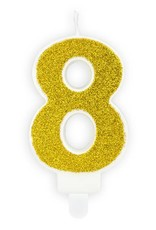 PartyDeco Verjaardagskaarsje goud & glitter | cijfer 8
