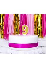 PartyDeco Verjaardagskaarsje goud & glitter | cijfer 9