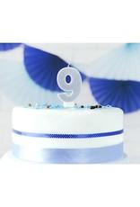 PartyDeco Verjaardagskaarsje zilver & glitter | cijfer 9