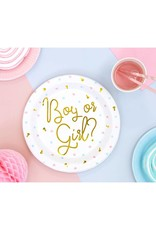 PartyDeco Papieren bordjes gender reveal | 6 stuks