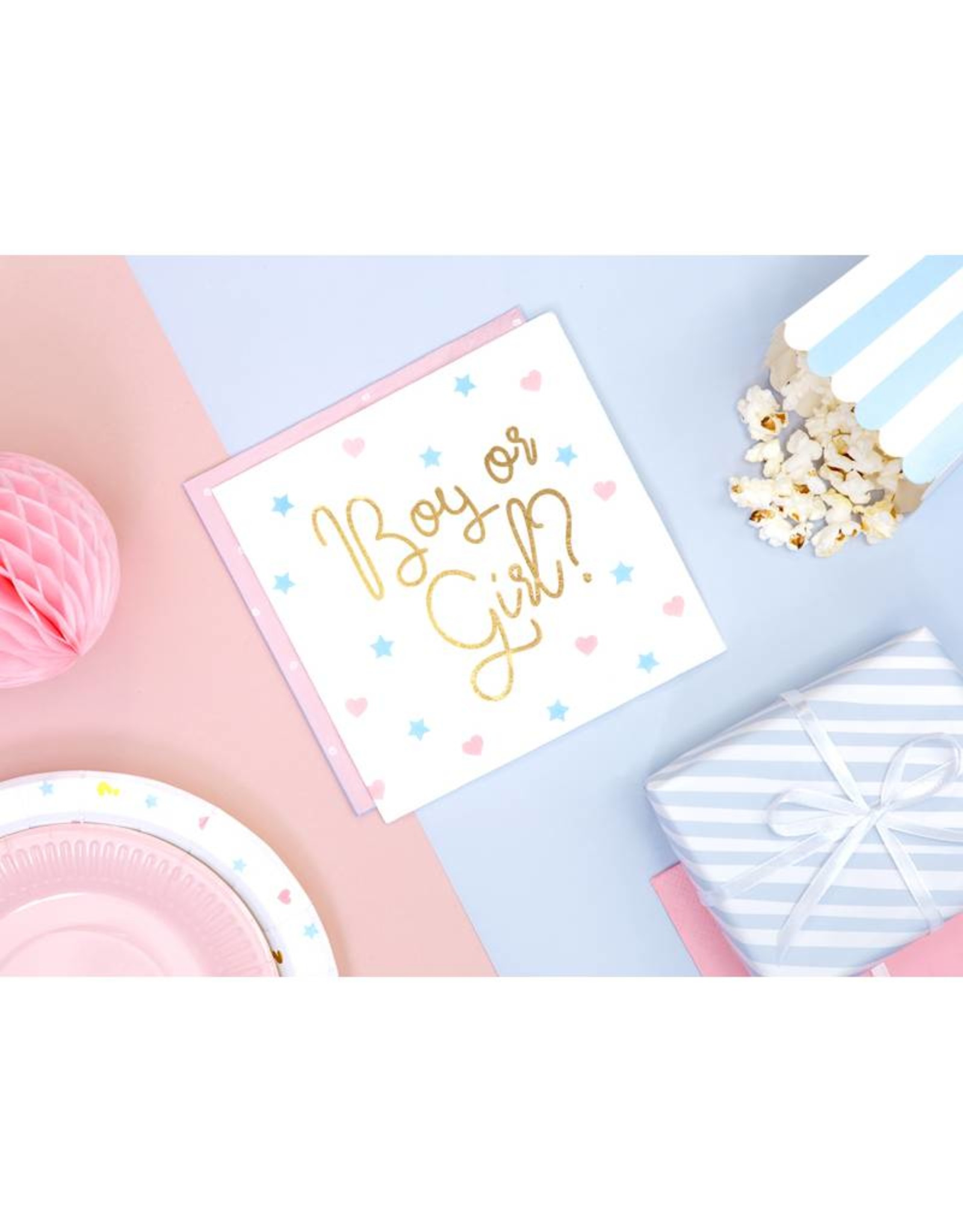 PartyDeco Servetten gender reveal | 20 stuks