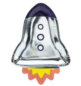 PartyDeco Papieren bordjes zilver raket | 6st